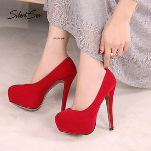 Plus size women flock high heel shoes - kaubi-online