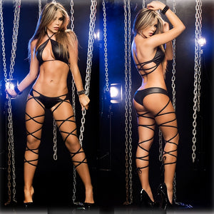 Hot Two-piece Set Patent Leather Sexy Lingerie Plus Size - KAUBI TRENDING EMPIRE