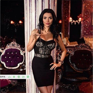 2019 Black Lace Outfits Spaghetti Strap Short Dress - KAUBI TRENDING EMPIRE