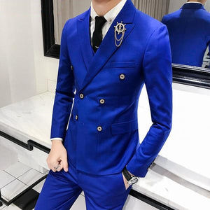 Luxury Royal Men's Suit 3 sets Fashion Boutique Double-breasted Solid Color - kaubi-online