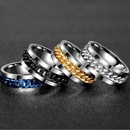 Titanium Stainless Steel Gold Black Chain Rotable  Rings - KAUBI TRENDING EMPIRE