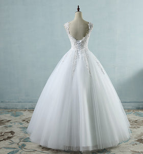 Spaghetti Straps Tulle Wedding Dresses with Pearls - KAUBI TRENDING EMPIRE