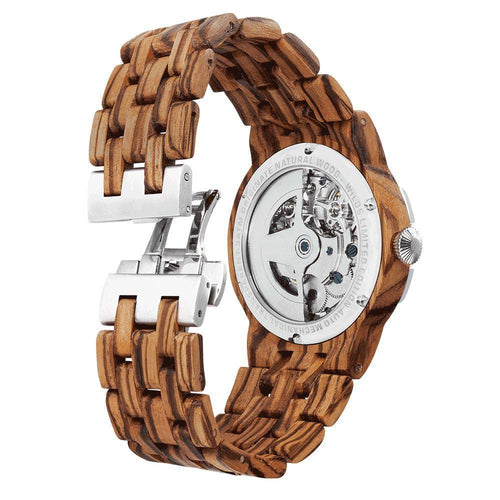 Men's Dual Wheel Automatic Zebra Wood Watch - 2019 Most Popular - KAUBI TRENDING EMPIRE