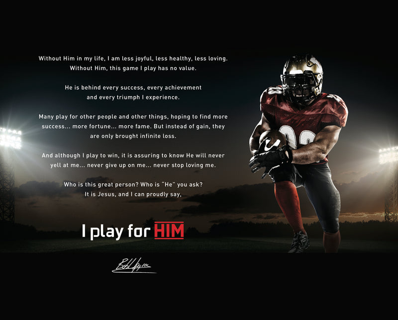 I play for Him Football Canvas