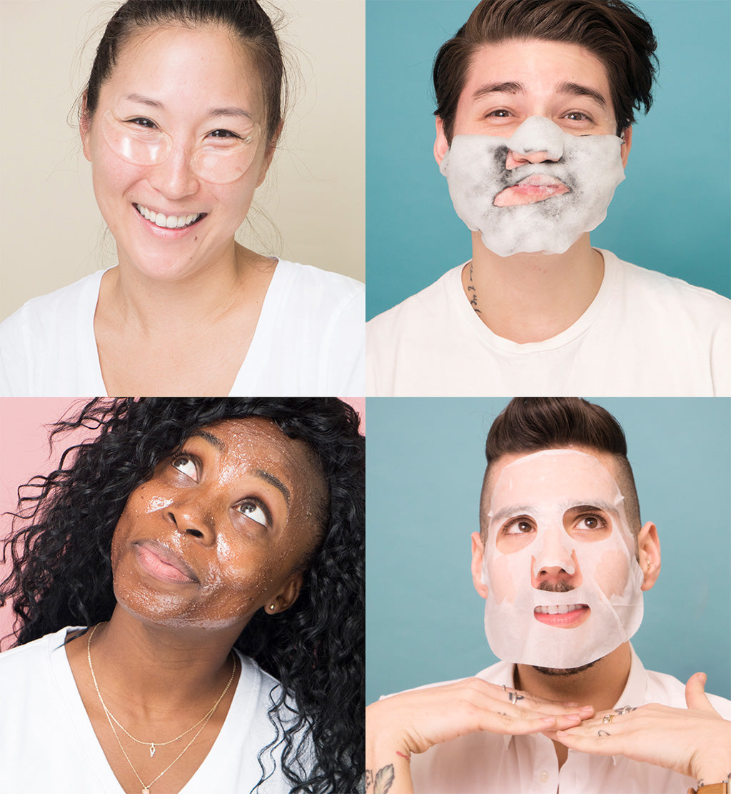Four people with skin care masks on their faces