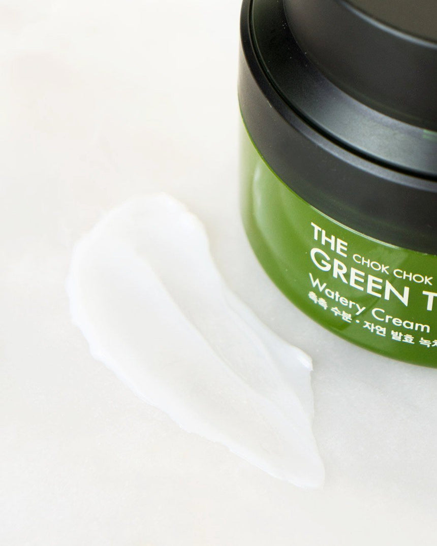 Tony Moly Chok Chok Green Tea Watery Cream - white cream texture