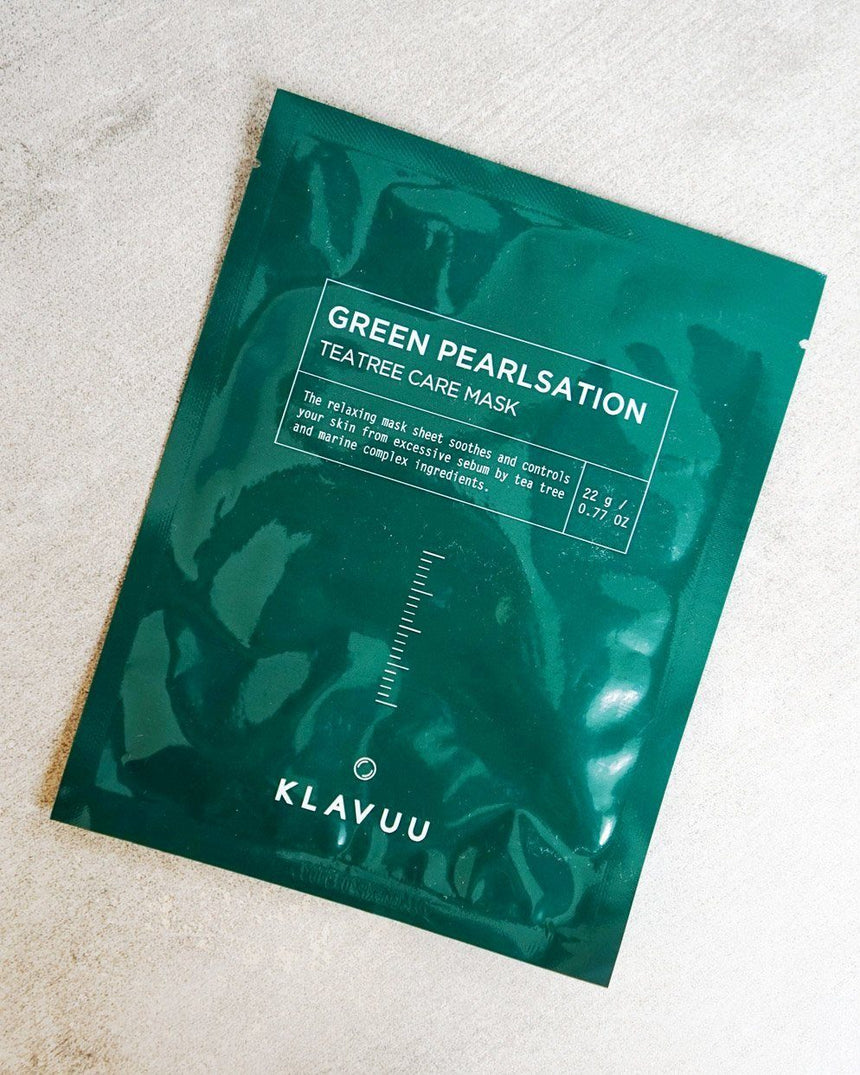 KLAVUU Green Pearlsation Teatree Care Mask, skincare, skin care, clean beauty
