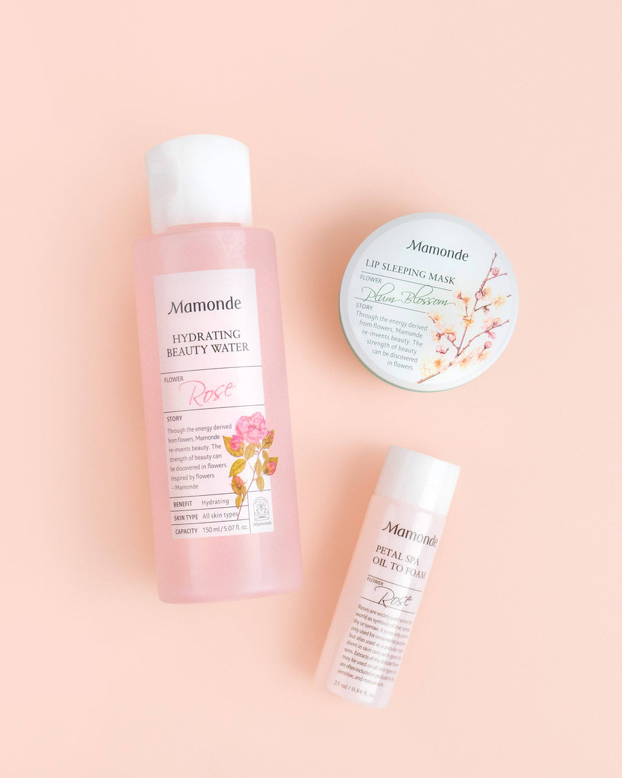 Mamonde Starter Set, vegan, skincare, skin care, toner, lip balm, cleanser