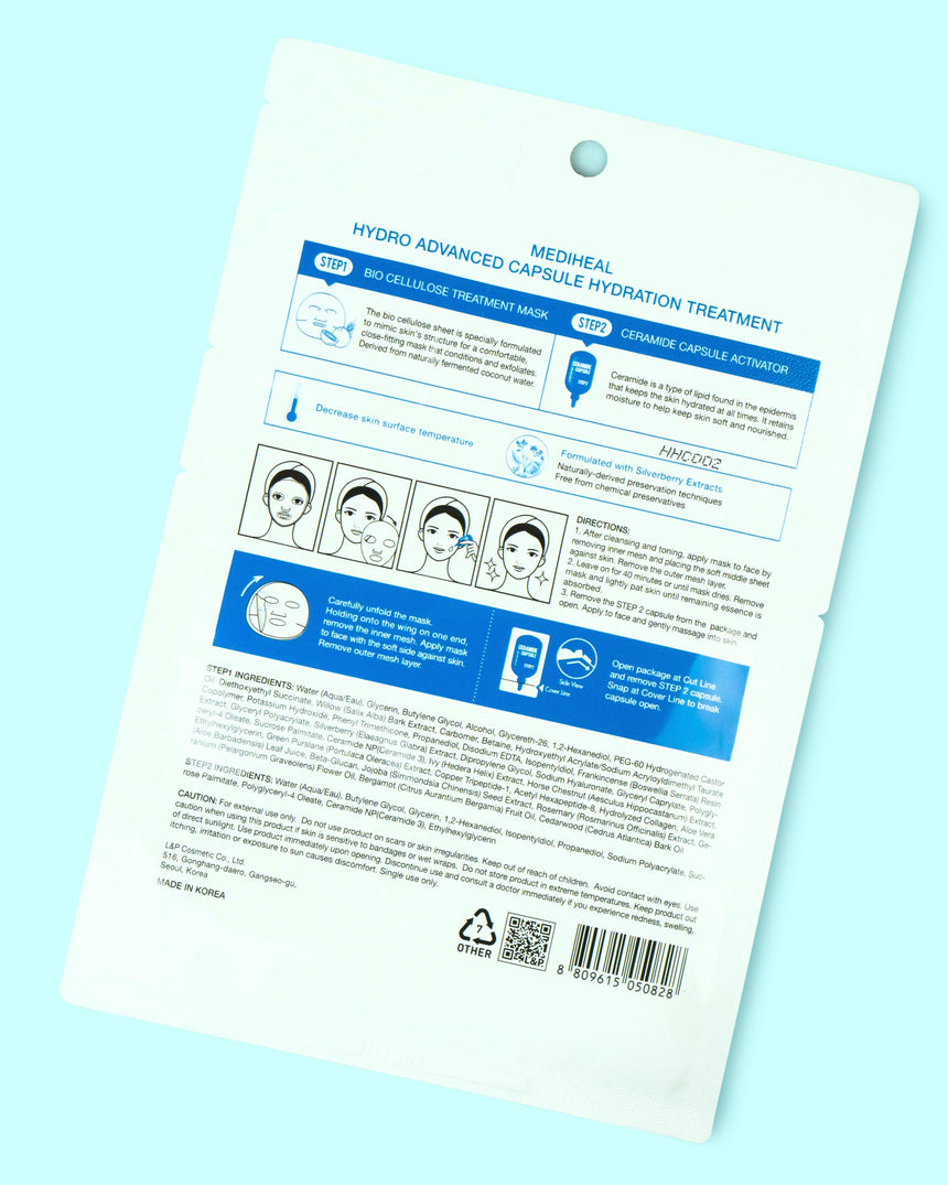 Mediheal Hydro Advanced Capsule Hydration Treatment Sheet Mask- back side
