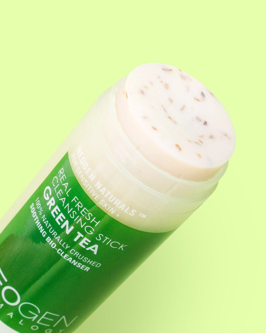 NEOGEN	Real Fresh Green Tea Cleansing Stick texture with green tea leaves