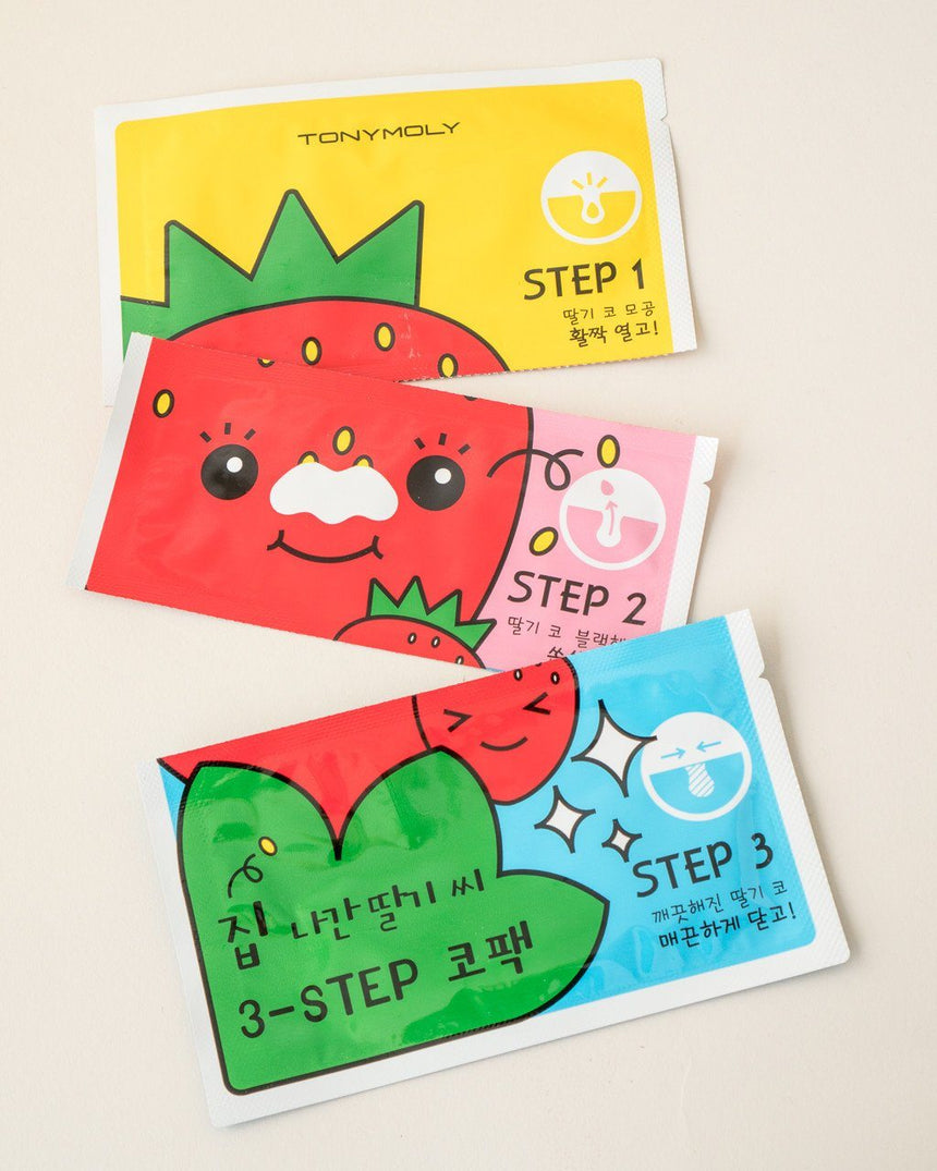 Tony Moly Strawberry Seed 3-Step Nose Pack, pore strips, skin care, skincare