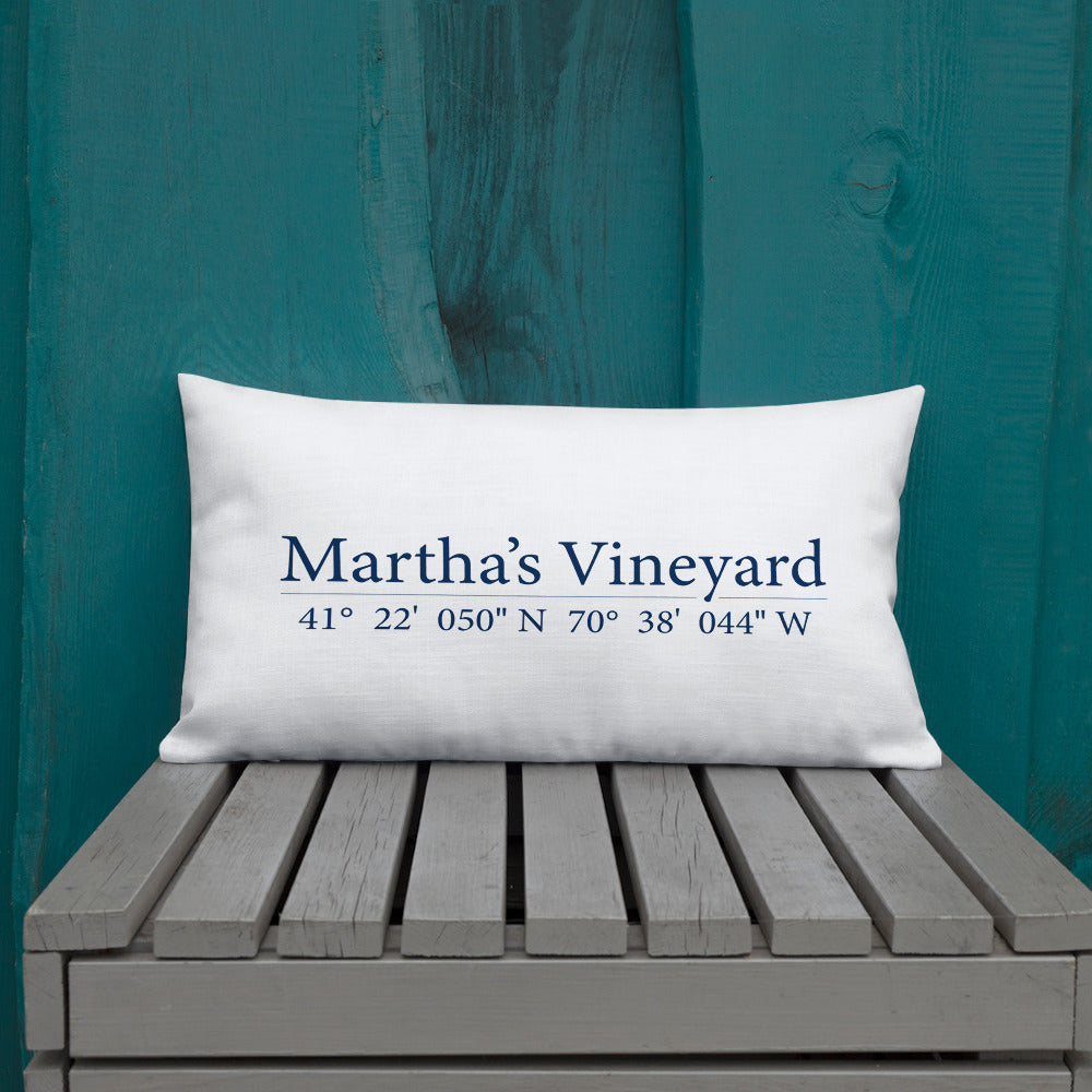 Martha's Vineyard Coordinates Throw Pillow