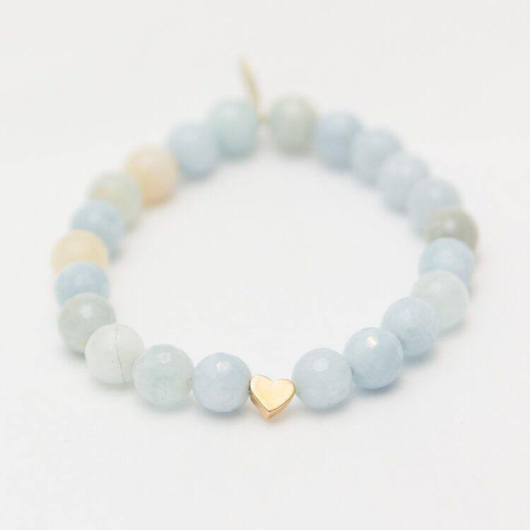Aquamarine with Heart | Courageous | March Birthstone
