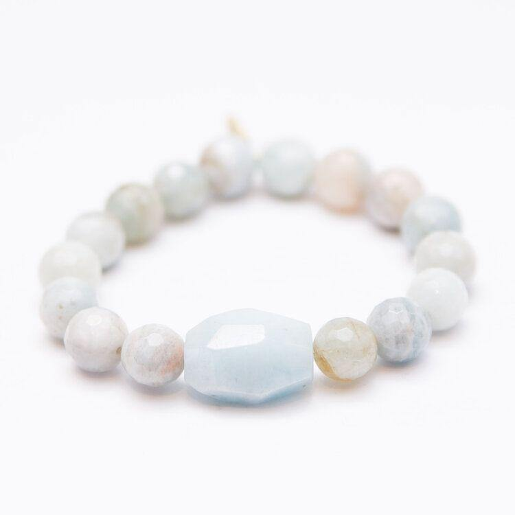 Aquamarine with Center Stone | Tranquility + Peace | March Birthstone