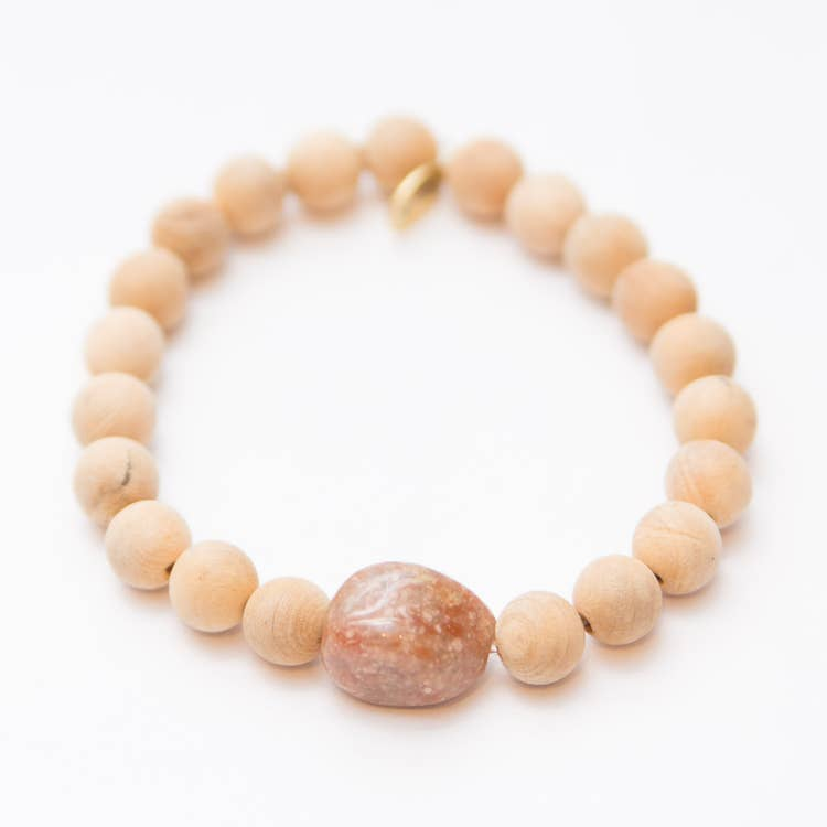 Emotionally Balancing + Grounding | 8mm Sandalwood with a Unakite Center Stone