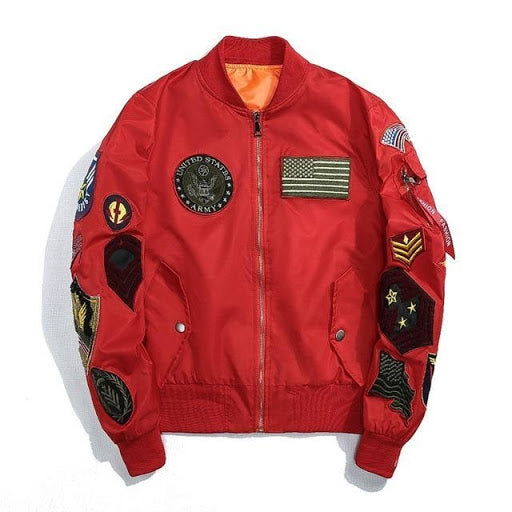 army bomber jacket red