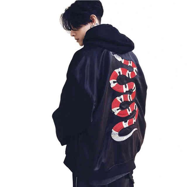Black 'Red Snake' Bomber Jacket Full View