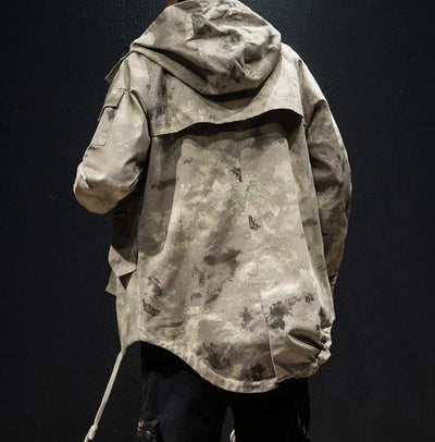 Khaki 'Tactical' Hoodie  Full Back View