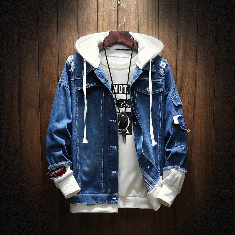 """Rad"" Hooded Denim Jacket"