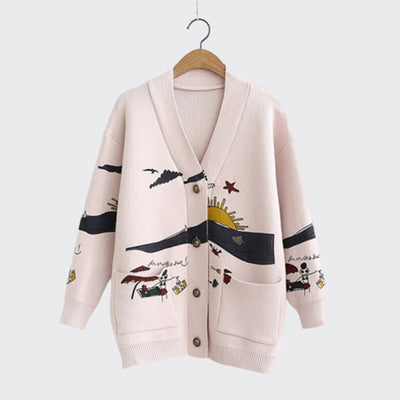 """Cutesy"" Graphic Design Cardigan"