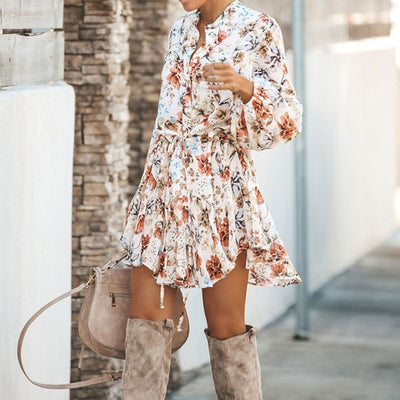 Asymmetrical Floral Print Ruffle Dress