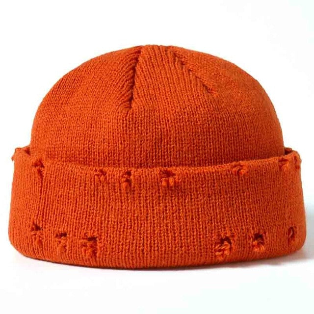 Distressed Beanie with Holes