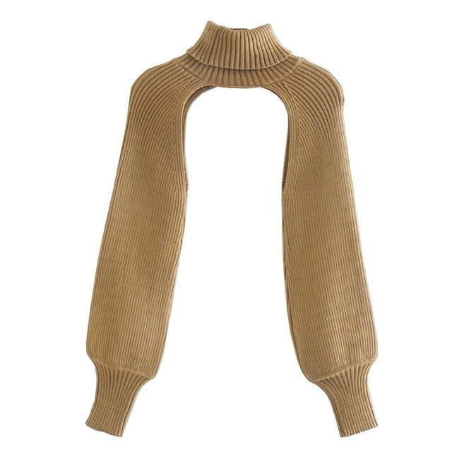 Cut-Out Turtleneck Overlay