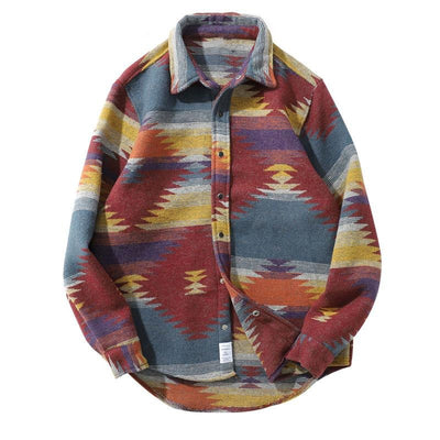 Tribal Print Snap Button Shirt