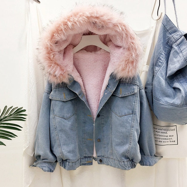 Sherpa-Lined Jean Jacket with Faux Fur Hood