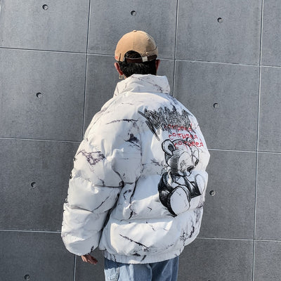 Teddy Bear Marble-Print Puffer Coat