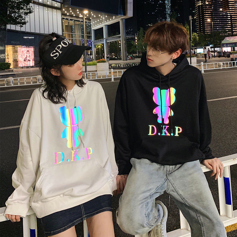 Reflective Bear Couple Hoodies