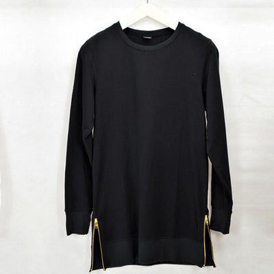 'Long Sleeved Side Zip' T-Shirt black