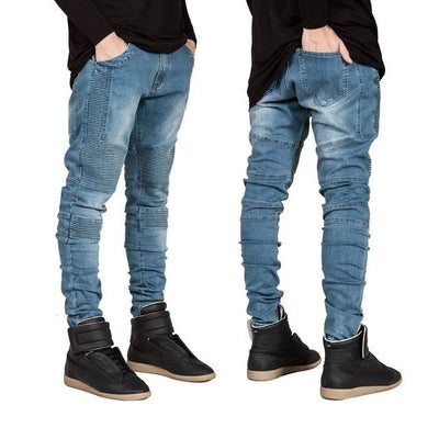 'Vertical' Biker Blue Jeans