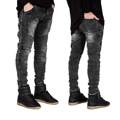 'Vertical' Biker Black Jeans