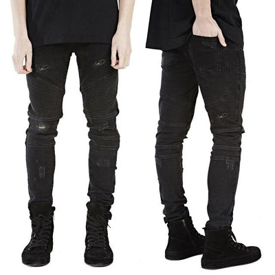 'Vertical' Biker Gray Jeans