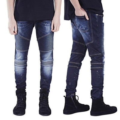 'Vertical' Biker Dark Blue Jeans