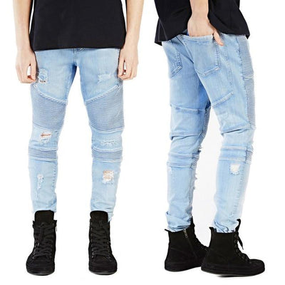 'Vertical' Biker Light Blue Jeans