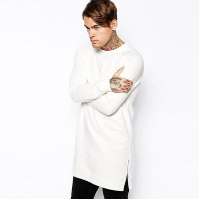 'Long Sleeved Side Zip' white T-Shirt