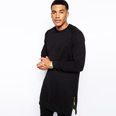 'Long Sleeved Side Zip' Black T-Shirt