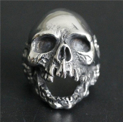 Silver 'Death Skull' Ring Front View