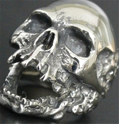 Silver 'Death Skull' Ring Side View