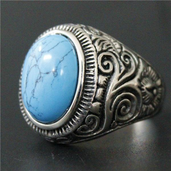 'Biker Blue-Black Stone' Ring