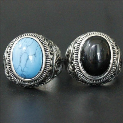 'Biker Both Blue-Black Stone' Ring Front View