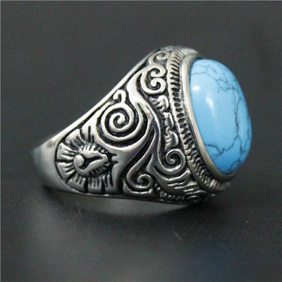 Blue 'Biker Blue-Black Stone' Ring Right Side View