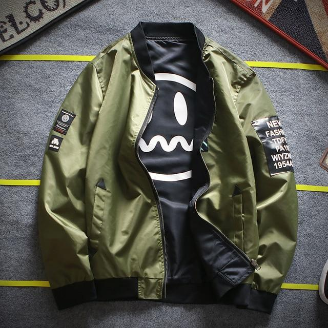 Army Green 'Smiley' Reversible Bomber Jacket