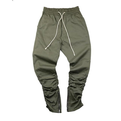 Army Green 'Impact zip' Joggers front view
