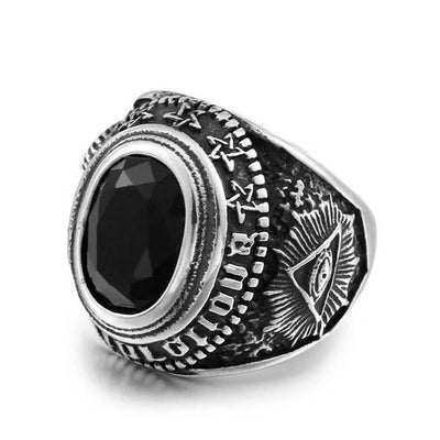 'Black Stone' Ring Full View