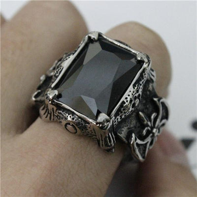 Black 'Biker Stone-Colored' Ring Full View