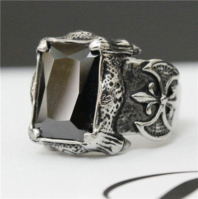 Black 'Biker Stone-Colored' Ring Front View