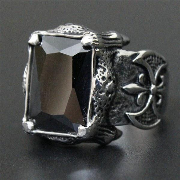 Black 'Biker Stone-Colored' Ring